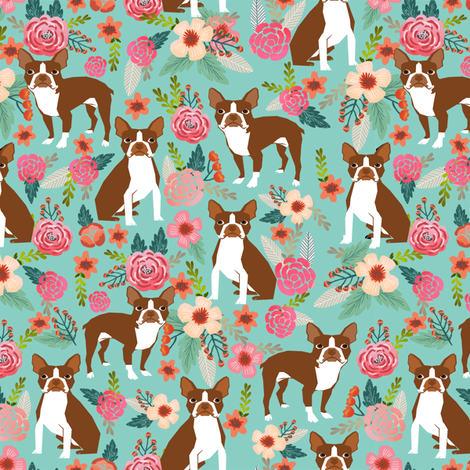 Boston Terrier spring florals red coat floral dog breed mint fabric by petfriendly on Spoonflower - custom fabric