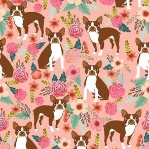 Boston Terrier spring florals red coat floral dog breed