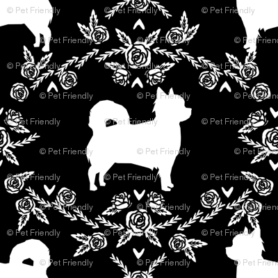 Chihuahua long haired silhouette floral dog pattern black