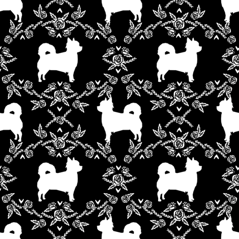 Chihuahua long haired silhouette floral dog pattern black fabric by petfriendly on Spoonflower - custom fabric
