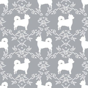 Chihuahua long haired silhouette floral dog pattern grey