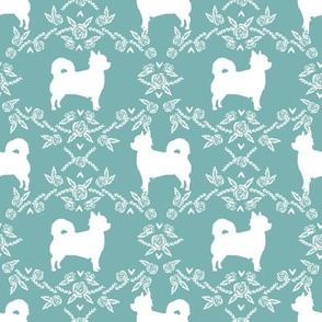 Chihuahua long haired silhouette floral dog pattern gulf blue