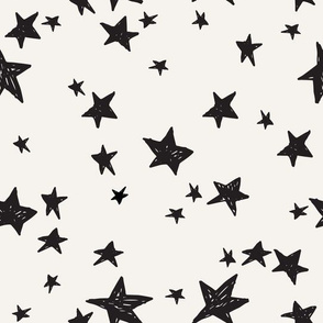 stars fabric // cream and black star design nursery baby design