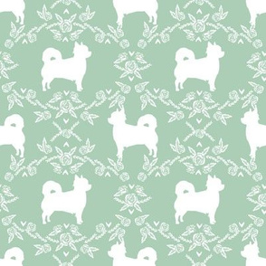 Chihuahua long haired silhouette floral dog pattern mint