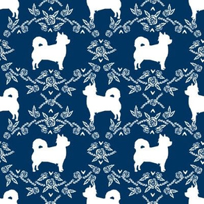 Chihuahua long haired silhouette floral dog pattern navy