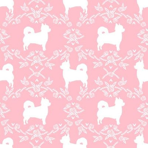 Chihuahua long haired silhouette floral dog pattern pink