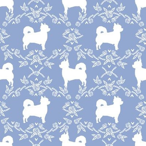 Chihuahua long haired silhouette floral dog pattern powder