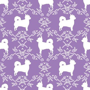 Chihuahua long haired silhouette floral dog pattern purple