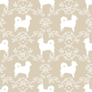 Chihuahua long haired silhouette floral dog pattern sand