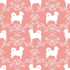 Chihuahua long haired silhouette floral dog pattern sweet pink