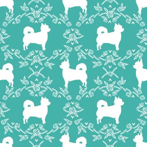 Chihuahua long haired silhouette floral dog pattern turquoise
