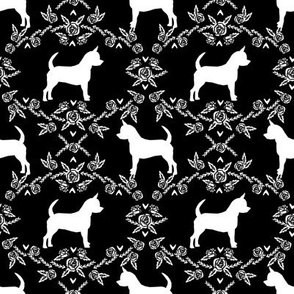 Chihuahua florals silhouette dog fabric pattern black