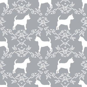 Chihuahua florals silhouette dog fabric pattern grey