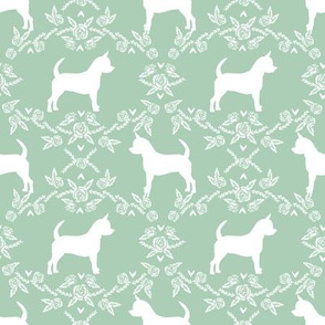 Chihuahua florals silhouette dog fabric pattern mint