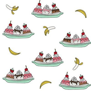 banana split // ice cream fabric summer food fabric andrea lauren design - white