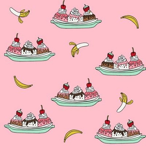 banana split // ice cream fabric summer food fabric andrea lauren design - pink