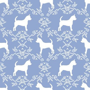 Chihuahua florals silhouette dog fabric pattern powder
