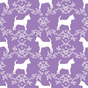 Chihuahua florals silhouette dog fabric pattern purple