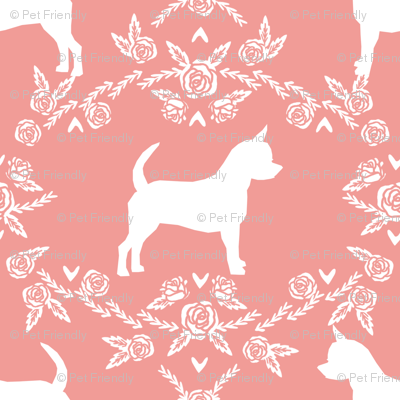 Chihuahua florals silhouette dog fabric pattern sweet pink