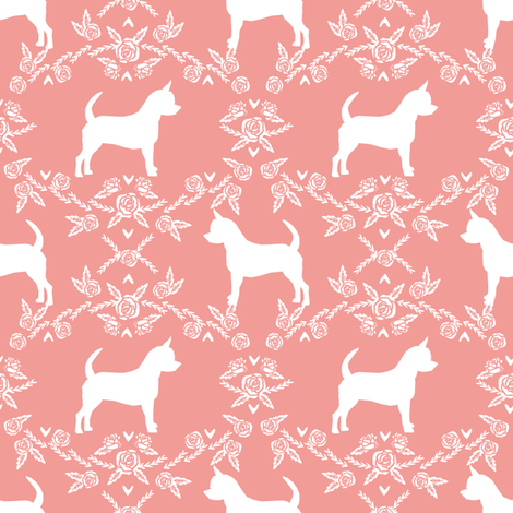 Chihuahua florals silhouette dog fabric pattern sweet pink fabric by petfriendly on Spoonflower - custom fabric