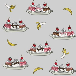 banana split // ice cream fabric summer food fabric andrea lauren design - grey