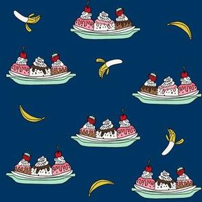 banana split // ice cream fabric summer food fabric andrea lauren design - navy
