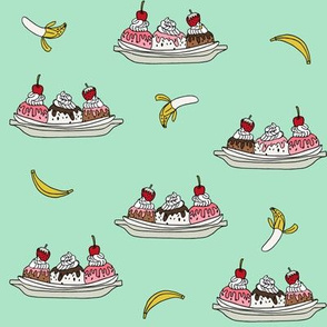 banana split // ice cream fabric summer food fabric andrea lauren design - mint