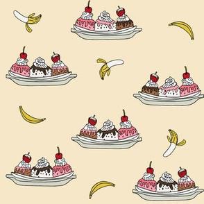 banana split // ice cream fabric summer food fabric andrea lauren design - cream