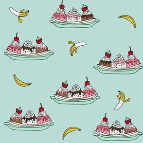 banana split // ice cream fabric summer food fabric andrea lauren design - light blue
