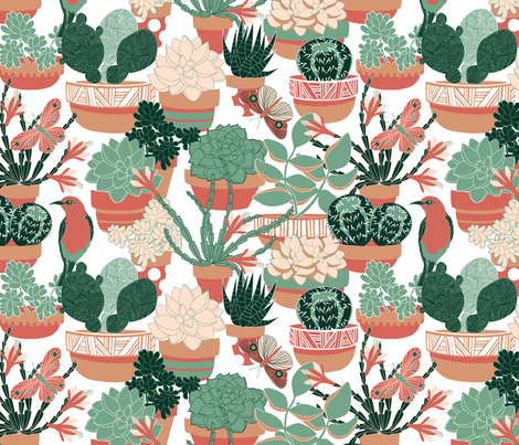 cacti garden fabric by cjldesigns on Spoonflower - custom fabric