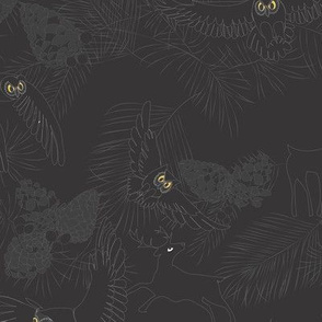 Mountain Owls and Deer night black