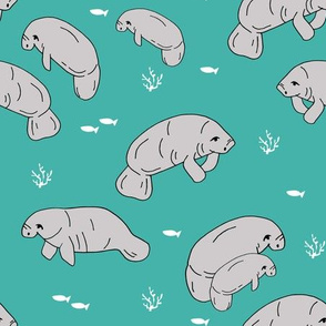 manatee fabric // manatees dugong animals design andrea lauren fabric - turquoise