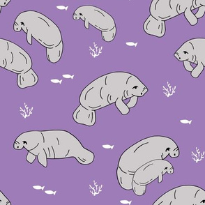 manatee fabric // manatees dugong animals design andrea lauren fabric - purple