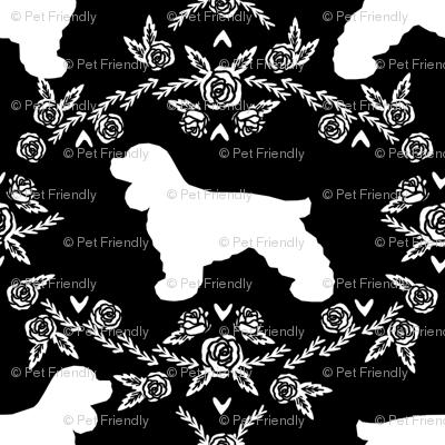 cocker spaniel dog breed silhouette florals black