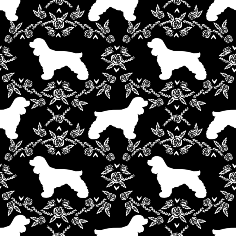 cocker spaniel dog breed silhouette florals black fabric by petfriendly on Spoonflower - custom fabric