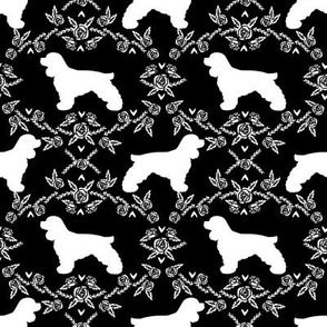 cocker spaniel dog breed silhouette florals black