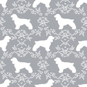 cocker spaniel dog breed silhouette florals grey