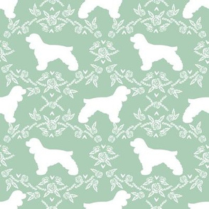 cocker spaniel dog breed silhouette florals mint