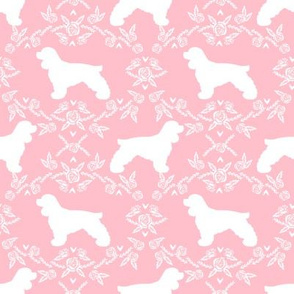cocker spaniel dog breed silhouette florals pink