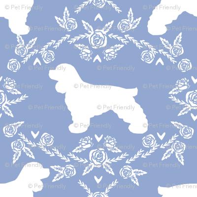cocker spaniel dog breed silhouette florals powder