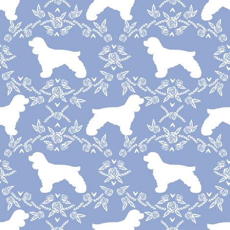 cocker spaniel dog breed silhouette florals powder fabric by petfriendly on Spoonflower - custom fabric