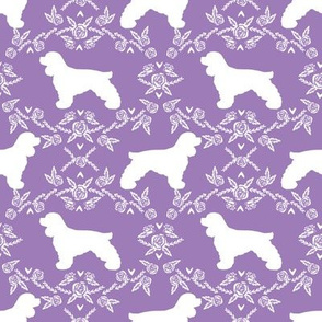cocker spaniel dog breed silhouette florals purple