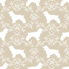 cocker spaniel dog breed silhouette florals sand
