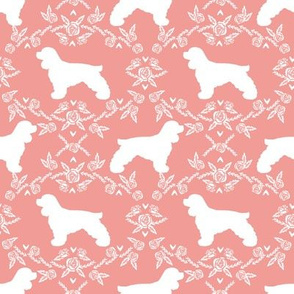 cocker spaniel dog breed silhouette florals sweet pink