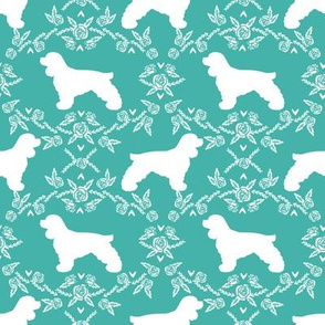 cocker spaniel dog breed silhouette florals turquoise