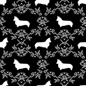 corgi dog breed silhouette florals black
