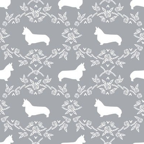 corgi dog breed silhouette florals grey