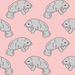 manatee fabric // manatees dugong animals design andrea lauren fabric - pink