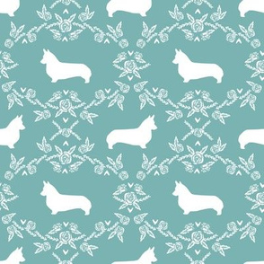 corgi dog breed silhouette florals gulf