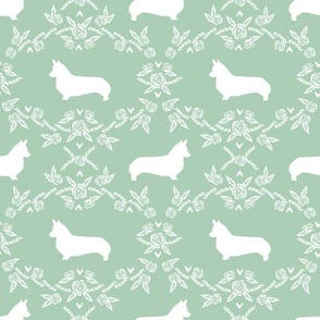 corgi dog breed silhouette florals mint